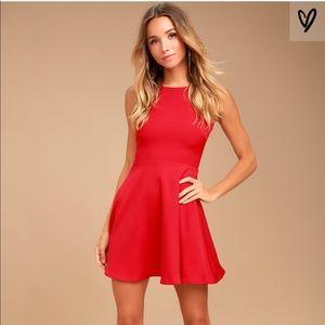 Lulu's Just Us Red Skater Dress